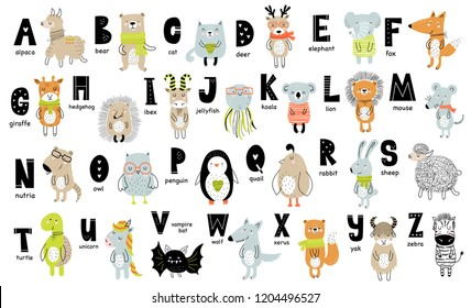 Vector poster with letters of the alphabet with cartoon animals for kids in scandinavian style. Hand drawn graphic zoo font. Perfect for card, label, brochure, flyer, page, banner design. ABC.