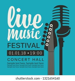 Vector poster for live music festival or concert with neck of acoustic guitar, microphone and place for text in retro style on the blue background