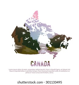 Vector poster. Map of Canada on the background of nature.