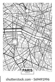 Vector poster map city Paris