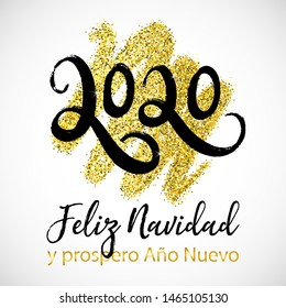 Vector poster Merry Christmas and Happy new Year in Spanish language- Feliz Navidad y prospero Año Nuevo. Typography lettering greeting card. 2020 Text Design for festive card, logo, calendar, party.