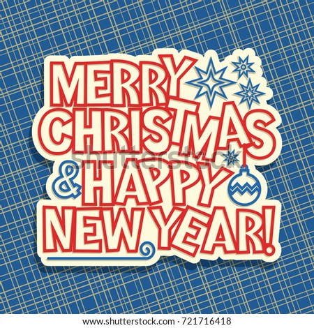 vector poster for merry christmas new year holidays original handwritten calligraphy font for red