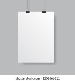 Vector poster mock up isolated on grey background with soft shadow. Realistic empty white poster template ready for your design.