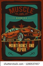 Vector poster of Muskle car. An American classic