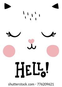 vector poster, nursety illustration, cute cat face, hand lettering hello text