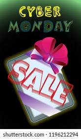 Vector poster on cyber monday. Tablet tied with a ribbon with a bow and the inscription sale. On a black gradient background