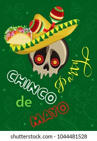 Vector poster on the holiday of Cinco de Mayo. Skull in sombrero with tacos and maracas on a green background with outline festive attributes.