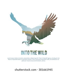Vector poster on themes: wild animals of Canada, survival in the wild, hunting, camping, trip. Eagle.