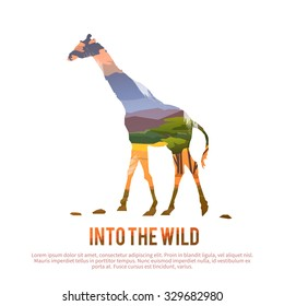 Vector poster on themes: wild animals of Africa, safari, animals of the Savannah, survival in the wild, hunting, camping, trip. Giraffe.