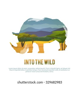 Vector poster on themes: wild animals of Africa, safari, animals of the Savannah, survival in the wild, hunting, camping, trip. African rhinoceros.