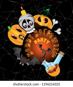 Vector poster for a party for Halloween. A skull with a candle and a witch's flask with bats in front of a circle with an inscription. Pumpkins Jack around the circle. Black background with a gray web