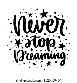 Vector poster with phrase and stars. Typography card, image with lettering. Black quote and different constellations. Design for t-shirt and prints. Never stop dreaming.
