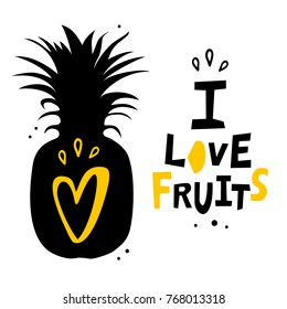 Vector poster with pineapple silhouette. Fruit tropic banner,  card