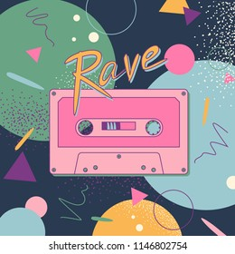 Vector poster with pink tape and lettering rave