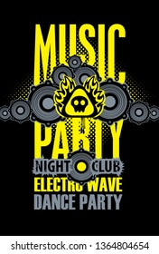 Vector poster or playbill for a dance music party in the night club with audio speaker on the black background. Can be used for flyer, playbill, poster, t-shirt design, banner, tickets