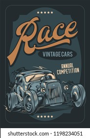 Vector poster. Racing on old vintage, American cars.