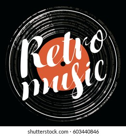 Vector poster for the retro music with vinyl record
