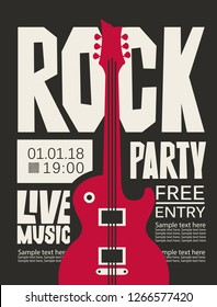 Vector poster for Rock party with live music. Banner with place for text and a red electric guitar on the black background.