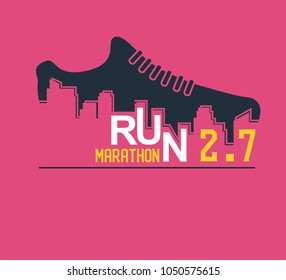 Vector poster - running, sport shoe and the city outline. vector illustration