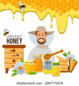 Vector poster template of apiary theme. Illustrations of bee an honey. Bee and honey, honeycomb and beekeeping