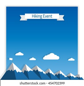 Vector Poster Template for Hiking or Mountaineering Event