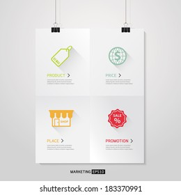Vector Poster template of a paper sheet with 4 P Marketing Mix Business concept