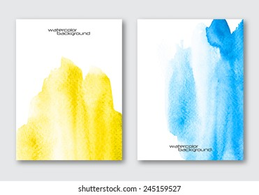 Vector poster template set. Hand drawn Watercolor stain background. Abstract background for card, brochure, banner, web design.