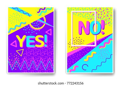 Vector poster templates with memphis stile illustrations. Abstract juicy colors templates for brochure, poster, party invitation.