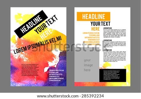 Vector Poster Templates Watercolor Paint Splash Stock Vector
