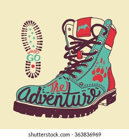 """Vector poster """"The Adventure"""" with boot, bird, paw and """"Just GO"""" footstep"""