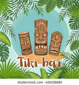 Vector poster tiki bar. Traditional Hawaiian idols surrounded by a framework of tropical leaves