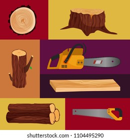 Vector poster with tools for cutting trees: ?hainsaw, saw, ax