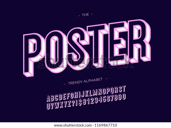 Vector Poster Trendy Font 3d Bold Stock Vector (Royalty Free
