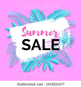 Vector poster with tropical leaves and text Summer Sale on the white brush stroke frame. Colorful pink banner template.