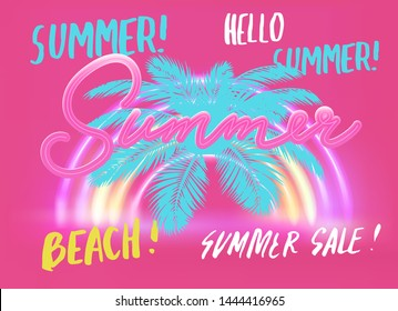 Vector poster with tropical leaves and text Summer Sale, Hello Summer. Colorful cute pink pastel banner template with lettering composition and neon rainbow signboard. Vaporwave/ retrowave cool style.