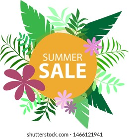 Vector poster with tropical leaves and text Summer Sale in the round frame. Banner design template.