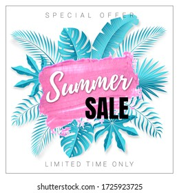 Vector poster with tropical leaves and text Summer Sale on the realistic pink smear. Bright discount banner with hand drawn element.