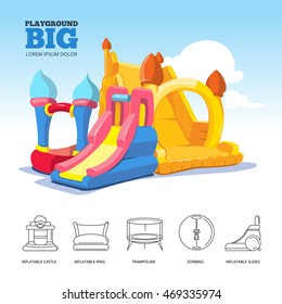 Vector poster with two big inflatable slides and set of line icons castles, slides, round pool, trampoline for kids and accessory for games on playground. Linear style for your personal design project