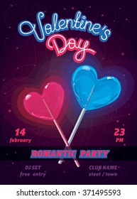 Vector poster wit Blue and Pink hearts - Valentine's day night party