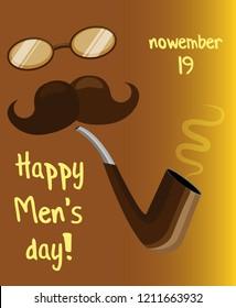 Vector poster for world men's day. Gradient golden brown background