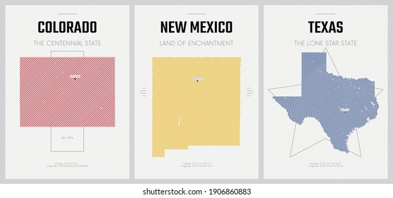 Vector posters detailed silhouettes maps of the states of America with abstract linear pattern, Division Mountain and West South Central - Colorado, New Mexico, Texas - set 13 of 17