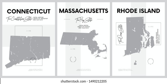 Vector posters with highly detailed silhouettes of maps of the states of America, Division New England - Connecticut, Massachusetts, Rhode Island - set 2 of 17