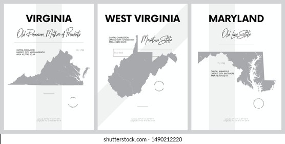 Vector posters with highly detailed silhouettes of maps of the states of America, Division South Atlantic - Virginia, West Virginia, Maryland - set 8 of 17