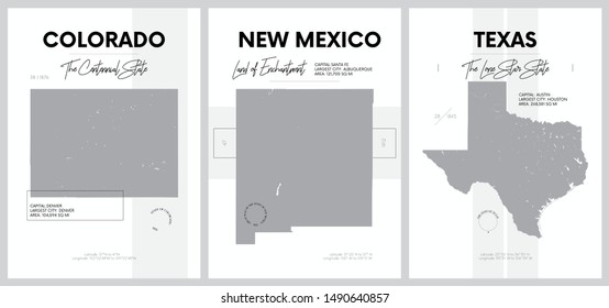 Vector posters with highly detailed silhouettes of maps of the states of America, Division Mountain and West South Central