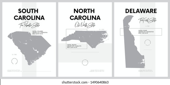 Vector posters with highly detailed silhouettes of maps of the states of America, Division South Atlantic - South Carolina, North Carolina, Delaware