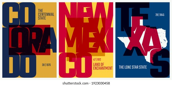 Vector posters states of the United States with a name, nickname, date admitted to the Union, Division Mountain and West South Central - Colorado, New Mexico, Texas - set 13 of 17