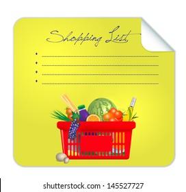 Vector post-it  shopping list illustration