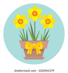 Vector potted daffodil flowers with yellow bow. Icon. Greeting card template with narcissus illustration. Spring flowers in flat style.