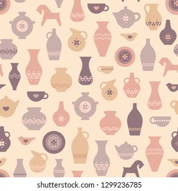 Vector pottery seamless pattern - ceramics/pottery bowl, urn for art studio, design elements for a hobby, masterclass. Greek vase, amphora, antique pitcher.