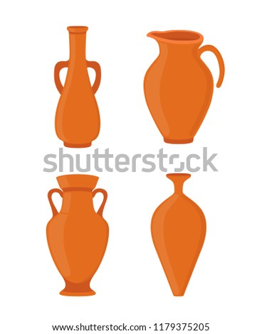 Vector Pottery Set Ancient Greek Vase Stock Vector Royalty Free